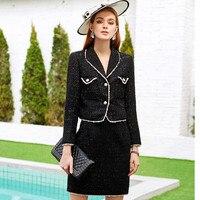 Осенне зимние женские Твидовые костюмы модные топы Юбки Комплекты из 2 предметов элегантная винтажная Женская шерстяная куртка пальто и ми