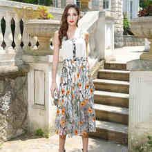 VOA 2017 Summer Sleeveless Sexy Spaghetti Strap Patchwork Print Silk Dress Plus Size Casual Bohemian Women Dresses ALX09701