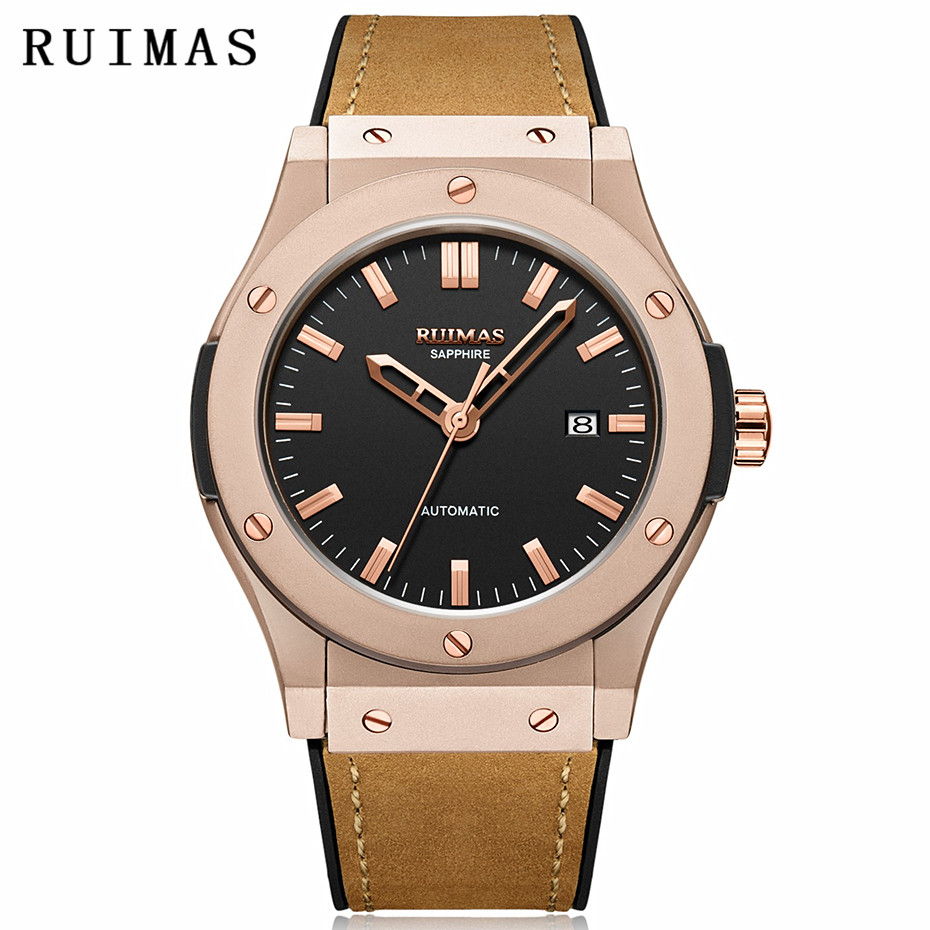 Relojes Hombre Men New Fashion Leather Watch Business Mechanical Watches Male Simple Clock Wristwatches RUIMAS with MIYOTA 8215 цена
