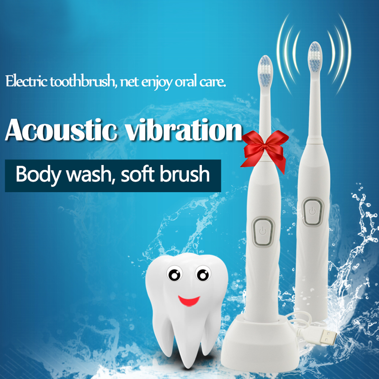 SHOWCHARM Bran 3pcs Brush head electric toothbrush Sonic vibration adult children universal electric toothbrush USB rechargeable in Electric Toothbrushes