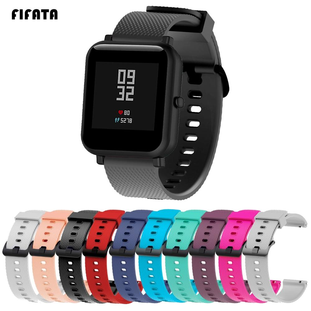 FIFATA 20mm Silicone Wrist Strap Sports Wristband Bracelet Band For Xiaomi Huami Amazfit Bip BIT Smart Watches Accessories