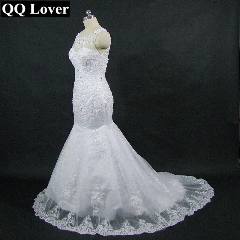 QQ Amant 2018 Nouvelle Sirène Robe De Mariage Élégant Perles Dentelle dans le Dos De Mariée Robe De Mariage