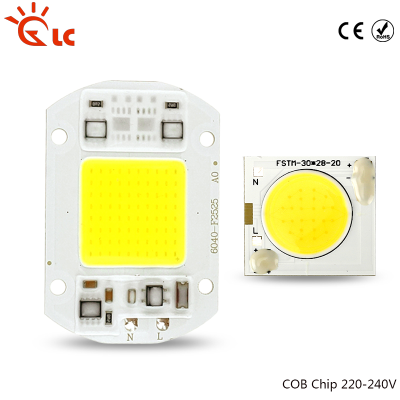 LED Chip Lamp COB 3W 10W 20W 30W 50W 220V Input Smart IC Driver Fit For DIY Cold Warm White For Spotlight Outdoor Floodlight