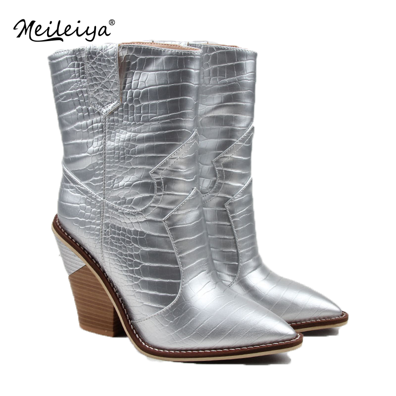 Women Ankle Boots Western Cowboy Boots Pointed Toe Strange Plus Size Boots High Heel Ladies Shoes Woman Silver Gold Botas Mujer