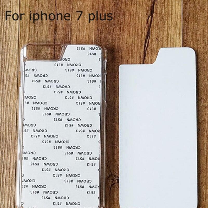 imágenes para Para el iphone 7 más Caso de La Sublimación 2D Contraportada Dura de la PC DIY estilo Para el iphone 7 plus 5.5 ''con Inserto de Metal de Aluminio En Blanco Tap