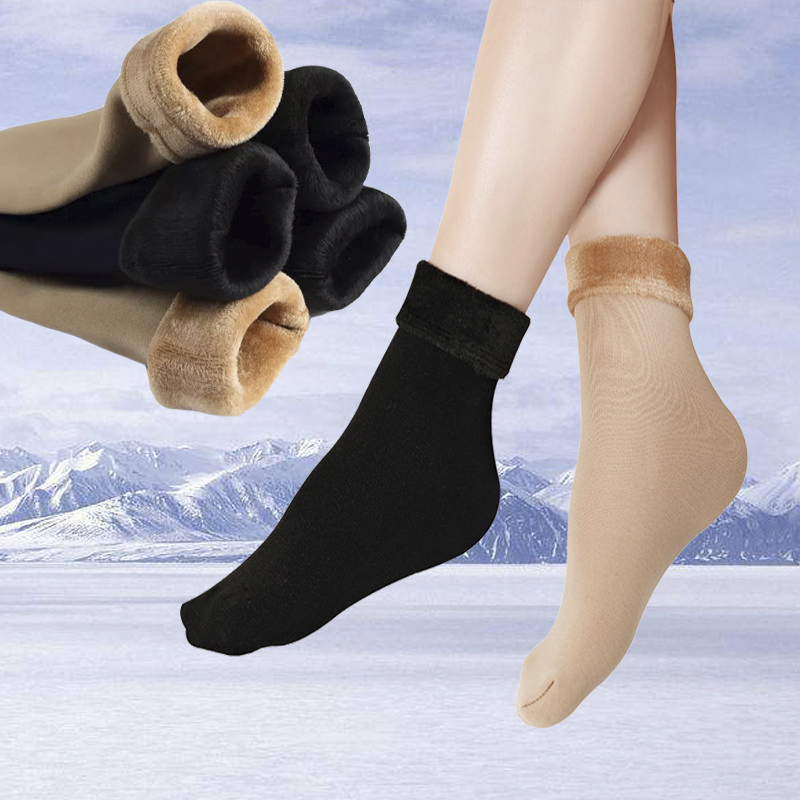 Winter Warm Stylish black long high 2 color solid short thick   socks   Women Plus velvet Cotton elastic for lady girl Christmas sox