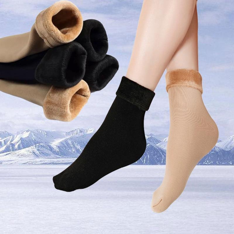 Зимние теплые Стильные черные длинные высокие однотонные короткие толстые носки 2 цветов женские бархатные хлопковые эластичные носки для ...