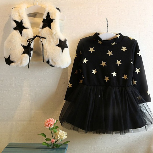 Otoño Invierno de Manga Larga Para Bebés Niñas Niños Niños Faux Fur Inicio de Terciopelo Chaleco + Vestido de Dos Piezas de vestidos de Princesa S2292