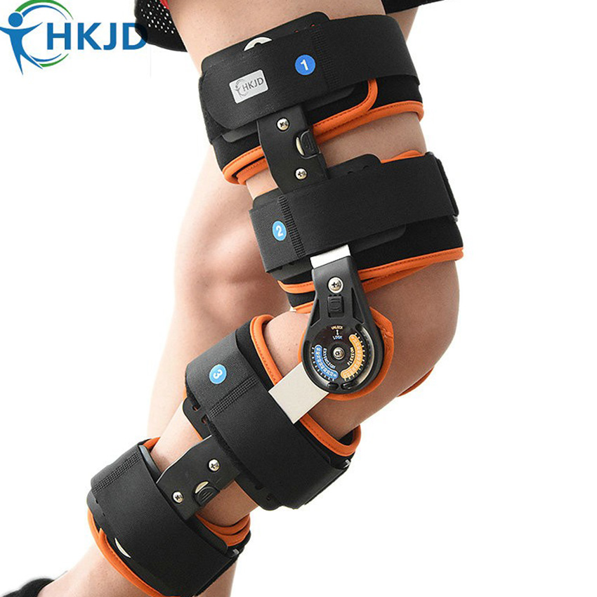 Adult Hinged <font><b>knee</b></font> Brace Support For Patellar Fracture Dislocation <font><b>Knee</b></font> Support Orthosis Adjustable HK-D002 Free shipping