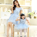 2016 new  family fashion female child summer chiffon one-piece dress clothes for mother and daughter child princess lace derss