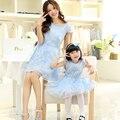 2016 nueva moda familia niña gasa del verano de una sola pieza de vestir ropa para la madre e hija niño cordón de la princesa derss
