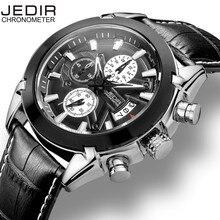 JEDIR Calendar Chronograph Military Watches Men Fashion Casual Sports Genuine Leather Strap Watch Time Clock Relogio masculino