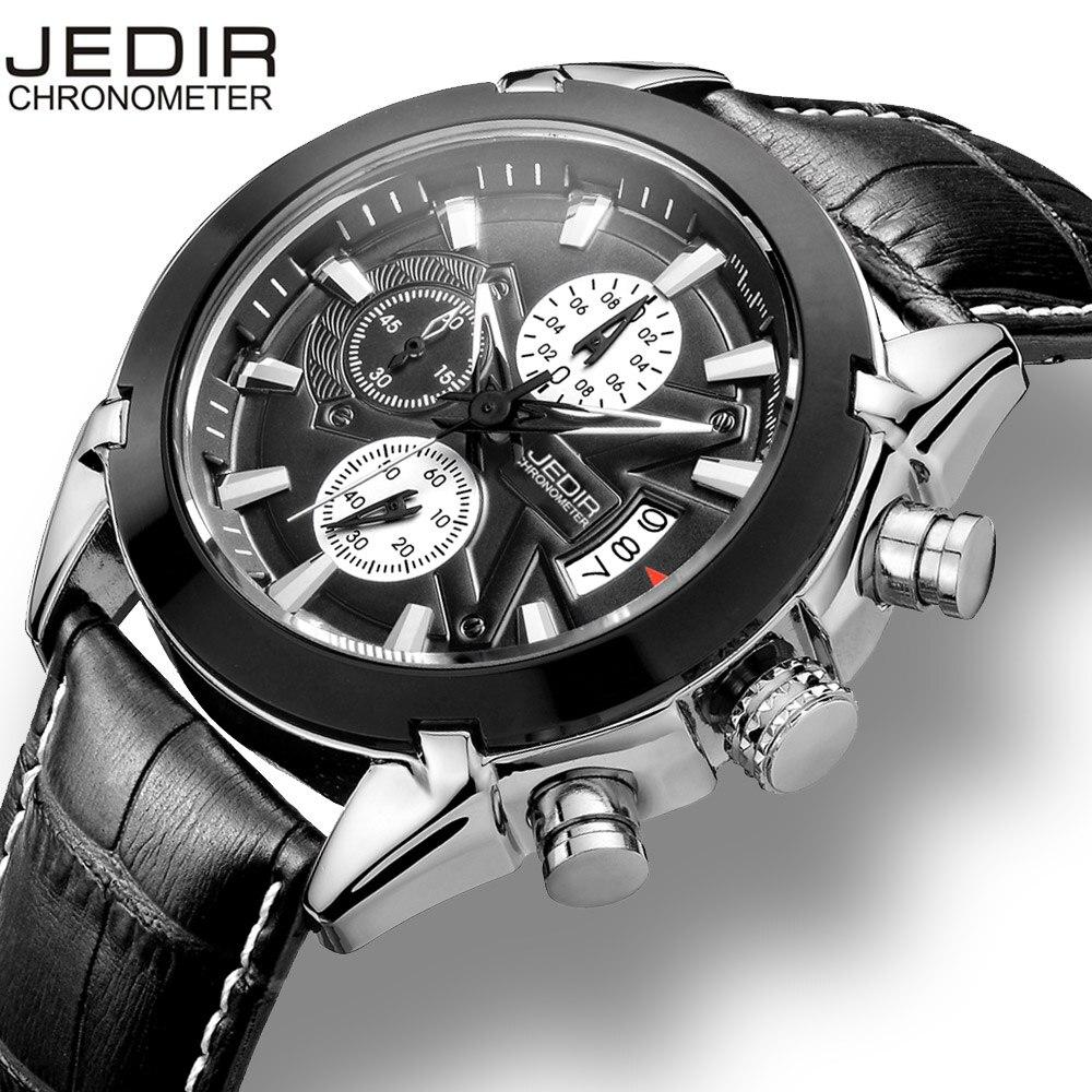 JEDIR Calendrier Chronographe Militaire Montres Hommes Mode Casual Sport Véritable Bracelet En Cuir Montre Temps Horloge Relogio masculino