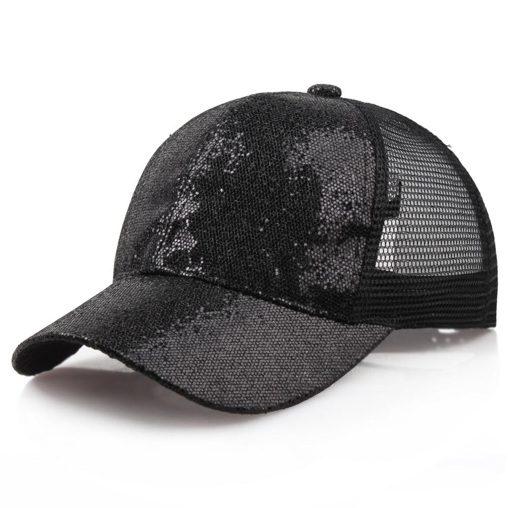 Women Baseball Hat Mesh Sequin Shiny Bun Female Backpack Hat For Women Adjustable Cap Streetwear Gorras Para Hombre Pink Hats Easy To Lubricate