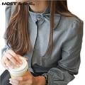 Весна новый женский мода корейский стиль элегантный длинным рукавом женщины повседневная лук шеи винтаж блузка топы blusas T51929