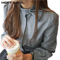 Primavera nuevas mujeres coreanas de moda estilo elegante de manga larga camisa ocasional de las mujeres del arco del cuello de la vendimia de la blusa tops blusas T51929