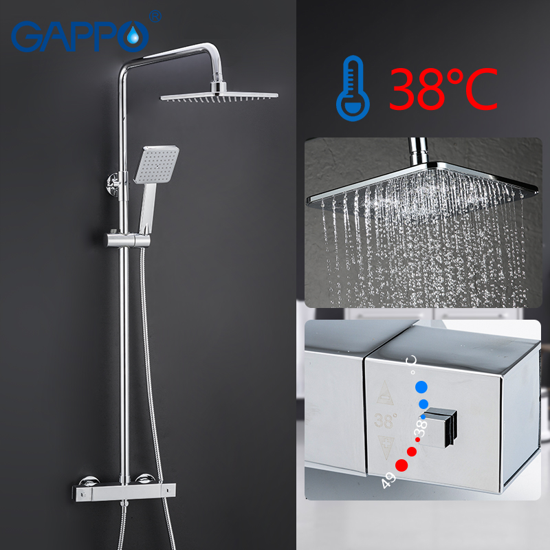 GAPPO Bathtub Faucet Bathroom Mixer Shower Tap Bath Shower Head Taps Rainfall Shower Set Waterfall Thermostatic Shower Faucets