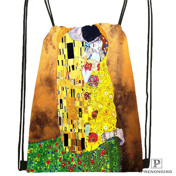 Custom Gustav Klimt Drawstring Backpack Bag Cute Daypack Kids Satchel (Black Back) 31x40cm#2018612-01-(5)