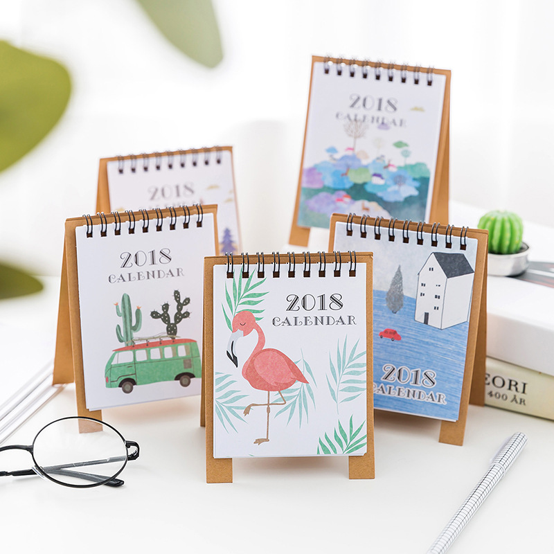 Year 2018 Fresh Style Mini Falmingo DIY Desktop Paper Calendar dual Daily Scheduler Table Planner Yearly Agenda Organizer