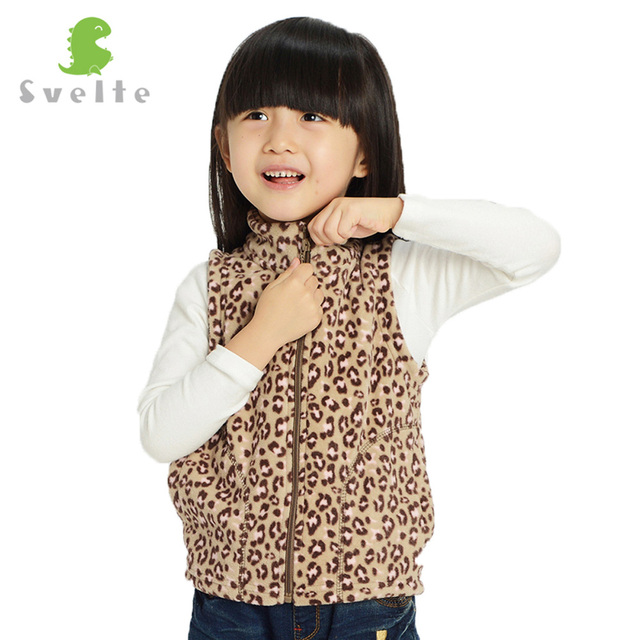 SVELTE Age 2-8 Year Old Children Kids Girls Fleece Leopard Vests Waistcoats for Fall Autumn Spring Fur Clothes Outerwear