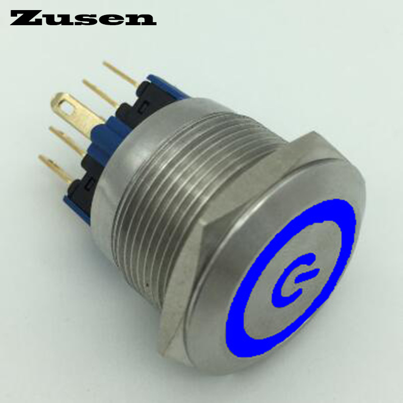 цена на Zusen 22mm stainless steel illuminated power symbol push button switch(GQ22F-11ET/B/12V/S)