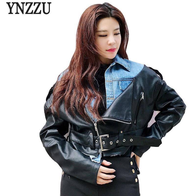 YNZZU New Design 2018 Autumn Denim Patchwork Women   Leather   Jacket Coat Chic Casual PU Motorcycle Female Jacket Streetwear YO602