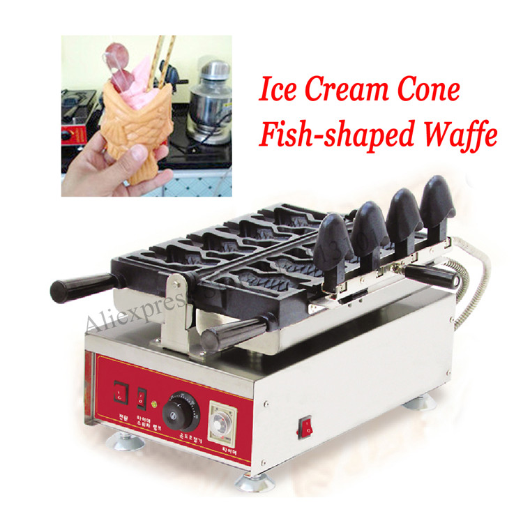 Big Open-mouth <font><b>Ice</b></font> Cream Taiyaki Waffle Machine Commercial Taiyaki Fish Shaped Cake <font><b>Maker</b></font> Stainless Steel with 4 pcs Moulds