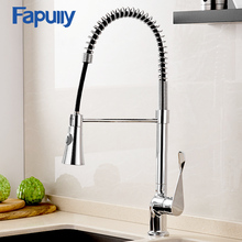 цена на Fapully Best Chrome Faucet Flexible Mixer Tap Single Handle Hole Deck Mount Kitchen Sink Faucet Pull Out Down Torneira 988-33