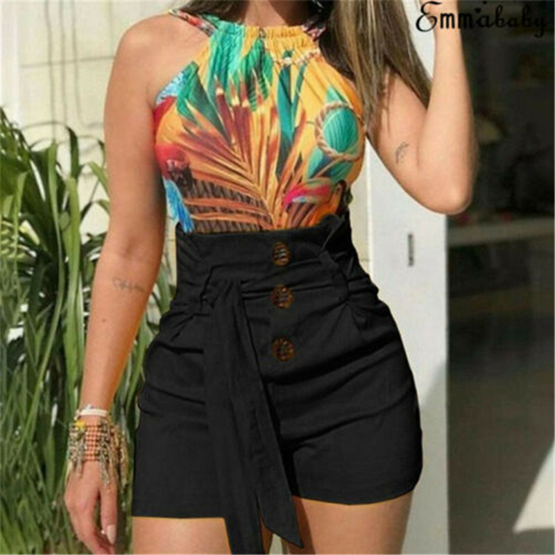Pantalones Mujer Sexy Women Summer Stylish High Waist Shorts Belt Polyester Sashes Hot Selling Multi Colors Patchwork