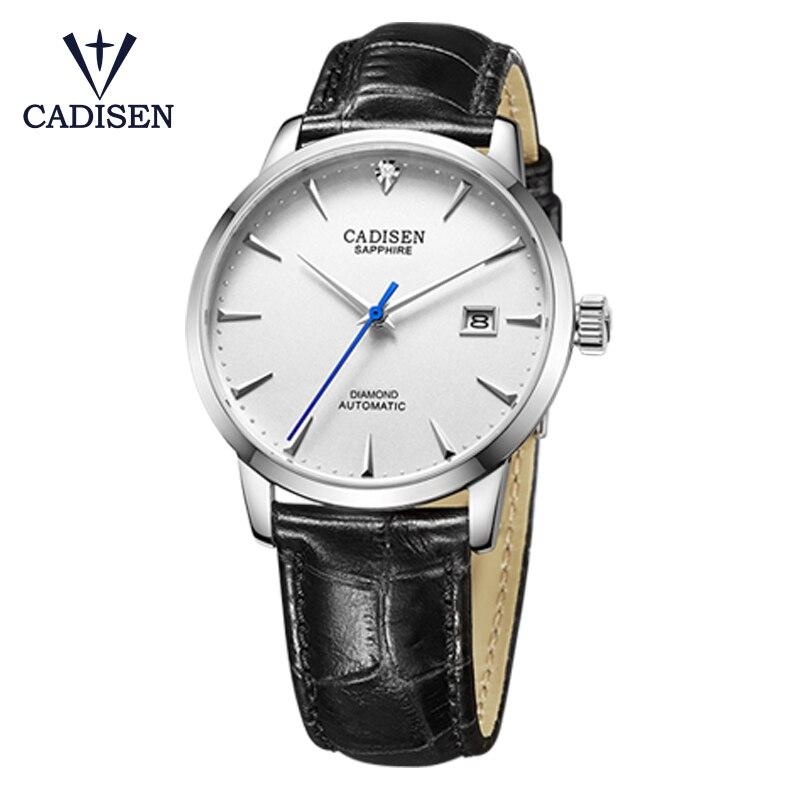 CADISEN mechanical watch top luxury brand mens sapphire glass leather waterproof watchCADISEN mechanical watch top luxury brand mens sapphire glass leather waterproof watch