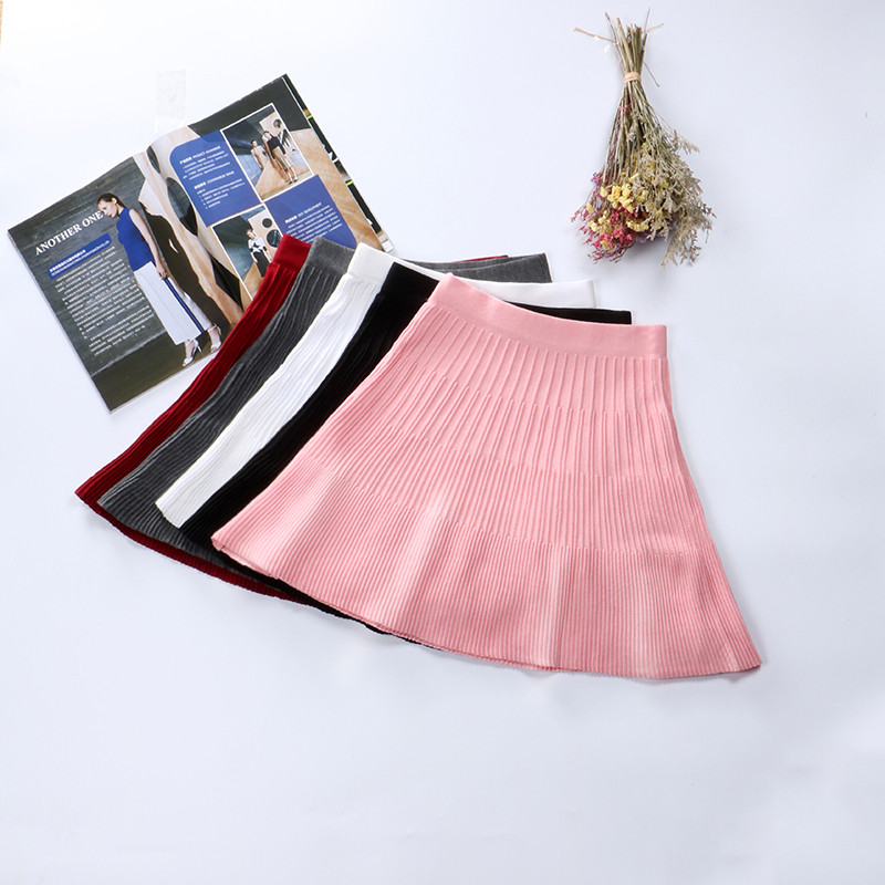 Autumn Winter Women Knitted Skirt Solid Elastic High Waist Short Skirts Sweater Umbrella Skirts Ladies Mini Pleated Skirt AB1087