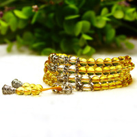 Natural Yellow white crystal Beads Round Tibetan Silver Charms Lucky Gift Healing Bracelets Chain Women Crystal Jewelry