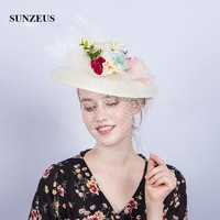 Handmade Flowers Bridal Hat with Face Veil Linen Hat Elegant Ladies Wedding Hat Ivory Feathers Fascinators Headwear SH91