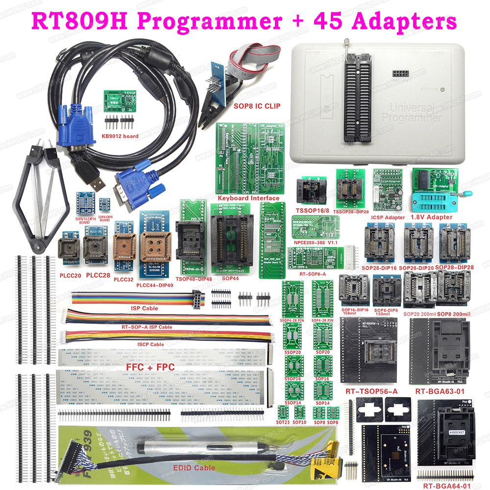 RT809H EMMC NAND FLASH USB Universal Programmer 45 Items 21 Items 12 Items TSOP48 TSOP56 Adapters
