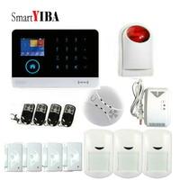 SmartYIBA Wireless door sensor Home Security system alarm TFT Display Wired Siren Kit SIM SMS WIFI GSM burglar Alarm APP Remote