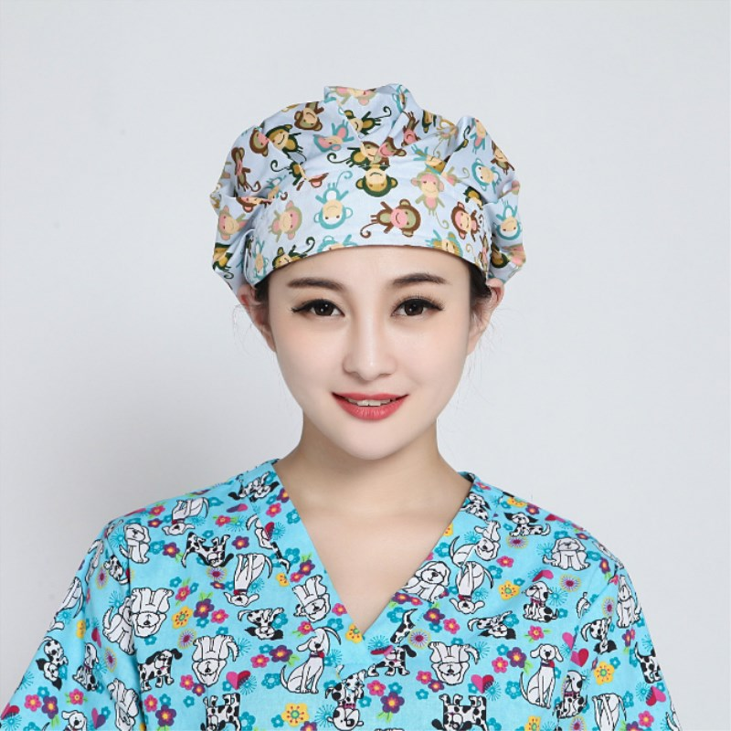16 colors 5 pcs Women Surgical Caps Doctor Nurse Medical Cap Woman Beautician Cap Printing Cotton Dome Scrub Hat Surgical Caps