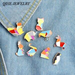 QIHE JEWELRY 9pcs/set Origami Animal Lapel Pin Enamel Pins Elephant Rabbit Bunny Bear Squirrel Whale Fish Penguin Fox Design