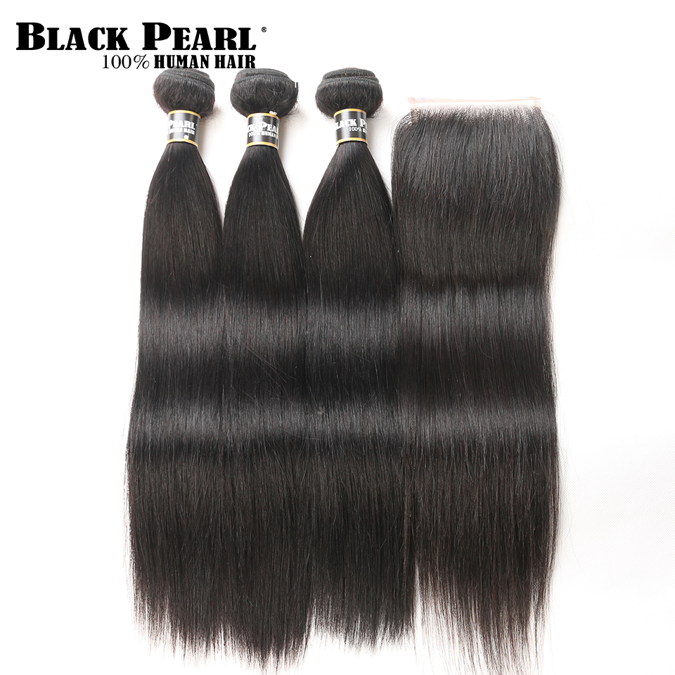 Black Pearl Pre-Colored Straight Human Hair Bundles Med Lukking 3 - Menneskelig hår (for svart)