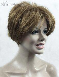 Image 1 - Güçlü Güzellik Sentetik Peruk Kadın Kısa Düz Peruk Kesim Saç Kadın Saç Seçmek Için Birçok Renk