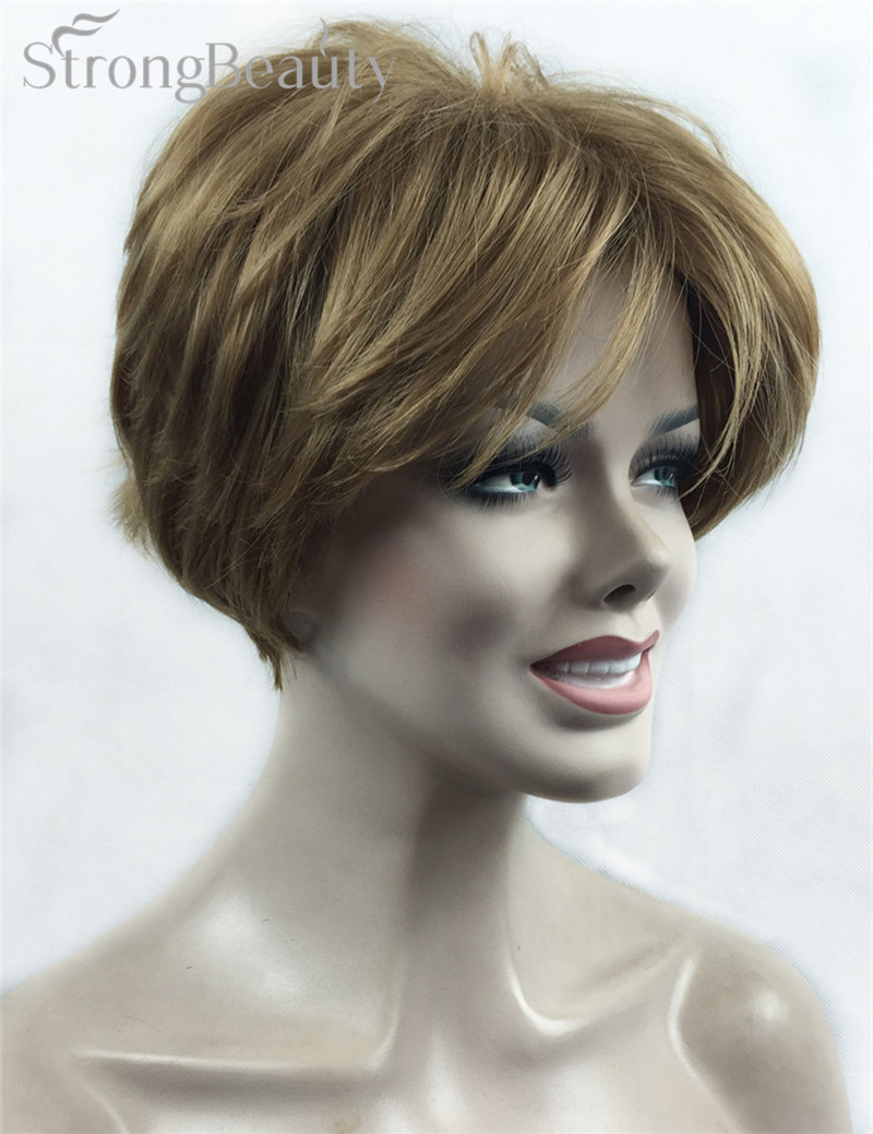 Strong Beauty Synthetic Hair Female Short Straight Wigs Cut Hairstyle For Black Women Many Color For
