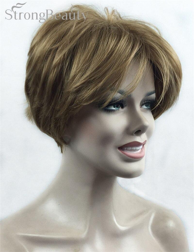 fuerte belleza mujeres cortas rectas pelucas de pelo sinttico corte peinado negro para las mujeres muchos