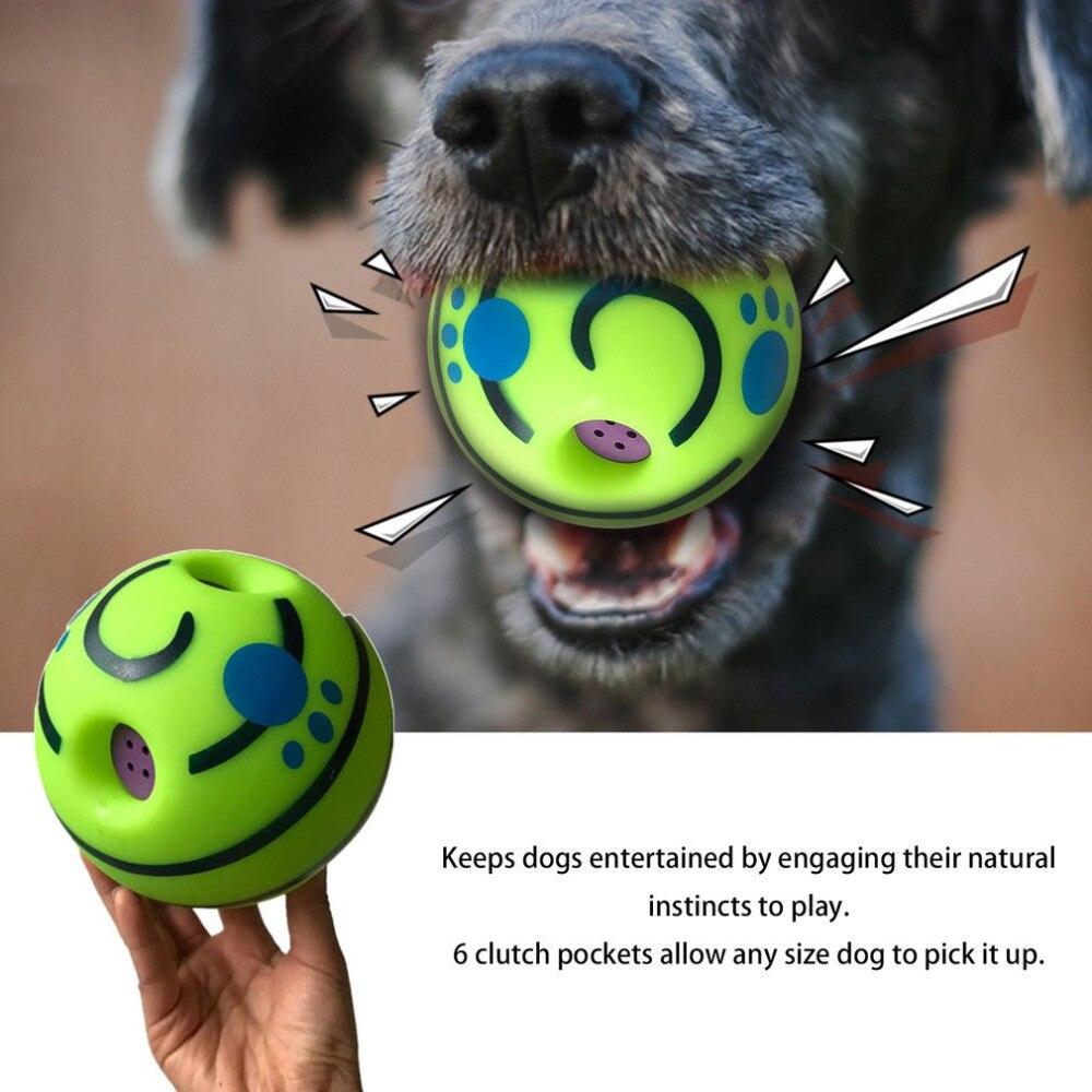 Nuevo 15 cm perro mascota gatos jugando pelota Wobble Wag pelota de entrenamiento seguro con divertido sonido gran divertido juguete regalo para perro mascota