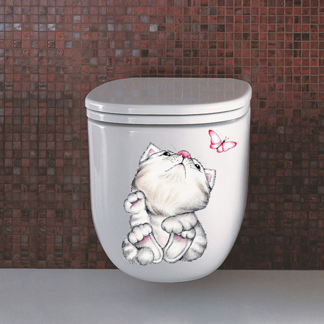 Cartoon Cat Toilet and Bathroom Sticker