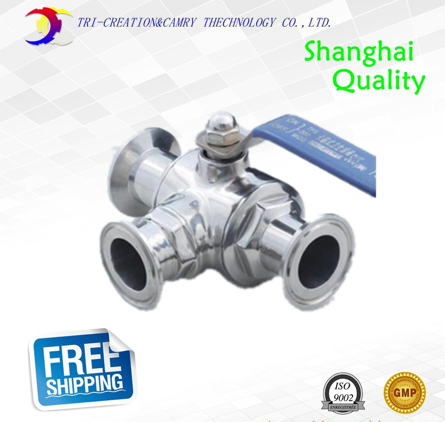 3/4 DN15 manual quick install ball valve,3 way 304 sanitary/food grade clamp stainless steel ball valve_handle T port valve