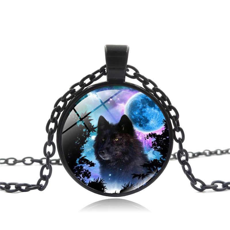 3 kolor moda urok niebieski księżyc czarny wilk obraz okrągłe szkło wisiorek naszyjnik biżuteria prezent 2018 New Arrival fajne prezent dla mężczyzny