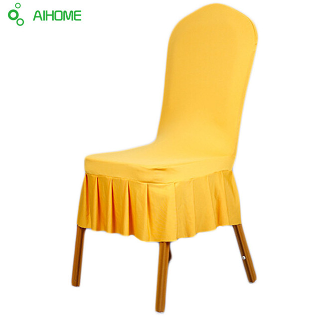 Dining Chair Covers Aliexpress Comfy Kids Chairs 1pcs Solid Colors Polyester Spandex Wedding Party Cover Brown Seat