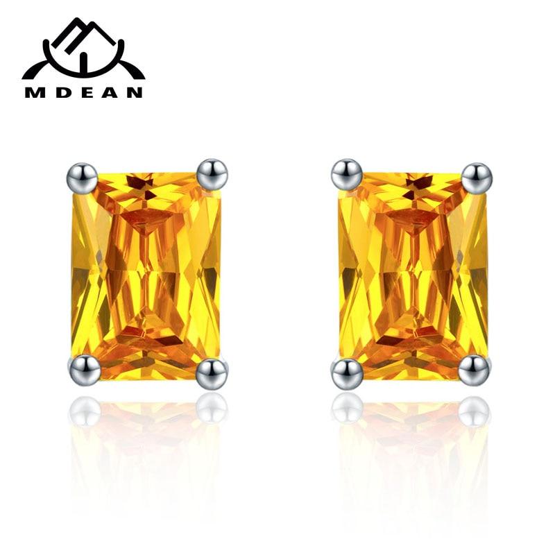MDEAN Stud საყურეები ქალებისათვის თეთრი ოქროს ფერის სამკაულები ყვითელი AAA ცირკონი Boucle D'oreille საქორწილო საყურეები Brincos A004