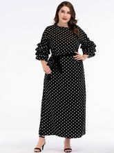 Spring Ruffles Short Sleeve Plus Size 4XL Summer Long Dress Women Casual Dot Print Black Dress Female Big Size Loose Maxi Dress 2018 winter elegant dress loose maternity dress casual pregnancy dress dot plus size dress ruffles pockets