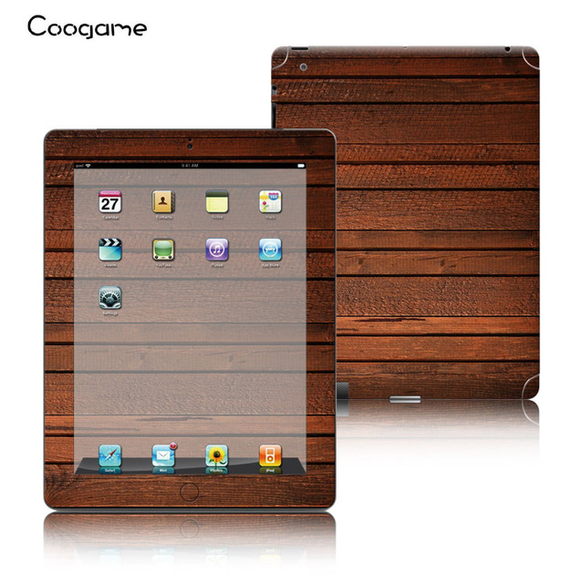 Wood style pvc vinyl skins sticker for ipad 2 3 4 universal decal protective film cover