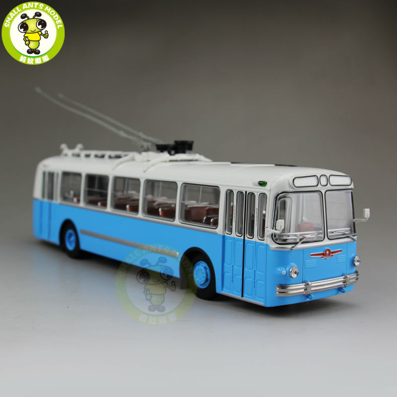 1/43 ZIU-5 ZIU 5 Russian Soviet Trolleybus Bus Classic 04006B Diecast Model Blue 1 43 ankai bus sightseeing tour of london bigbus big bus diecast model bus open top